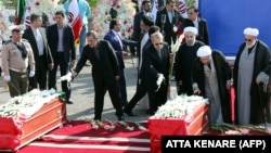 مقامهای ایرانی در مراسم تشییع شماری از قربانیان منا در تهران