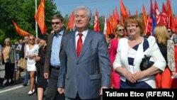 Vladimir Voronin la demonstrația comuniștilor de la 1 mai