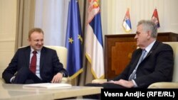 Dragan Đilas i Tomislav Nikolić tokom razgovora o Platformi, Beograd, 20. decembar 2012.