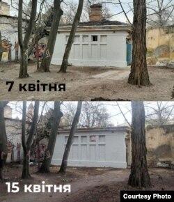 Порівняння однієї з будівель до та після «прибирання» смиття. Фото активістів