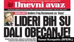 "Naslovnica lista ""Dnevni avaz"""