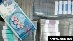 Банкноты тенге номиналом одна тысяча. Иллюстративное фото.