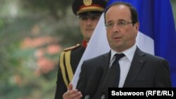 French President Francois Hollande delivers a speech during a visit to Kabul on May 25.