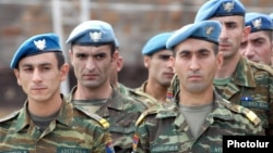 Armenia -- Soldiers of the Armenian army's special Peacekeeping Brigade, 2009.