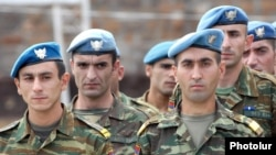 Armenia -- Soldiers of the Armenian army's special Peacekeeping Brigade, 2009