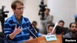Babak Zanjani appears during a court session in Tehran, November 17, 2015