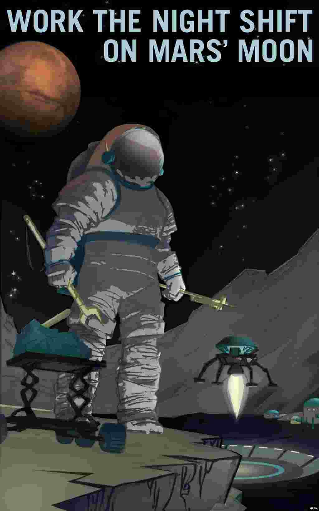 کار در شیفت شب در قمر مریخ
