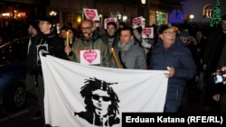 Justice for David protesters rally in Banja Luka on December 28.