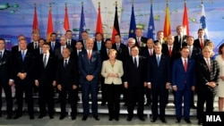 German Chancellor Angela Merkel and Western Balkan leaders at an earlier summit (file photo).