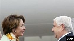 ولید المعلم وزیر امورخارجه سوریه از نانسی پلوسی رییس مجلس نمایندگان آمریکا استقبال کرد