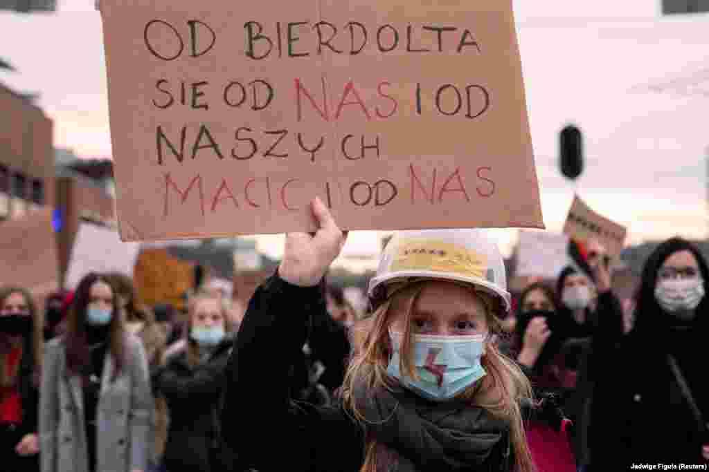 Під час акції протесту в Гданську, 28 жовтня 2020 року