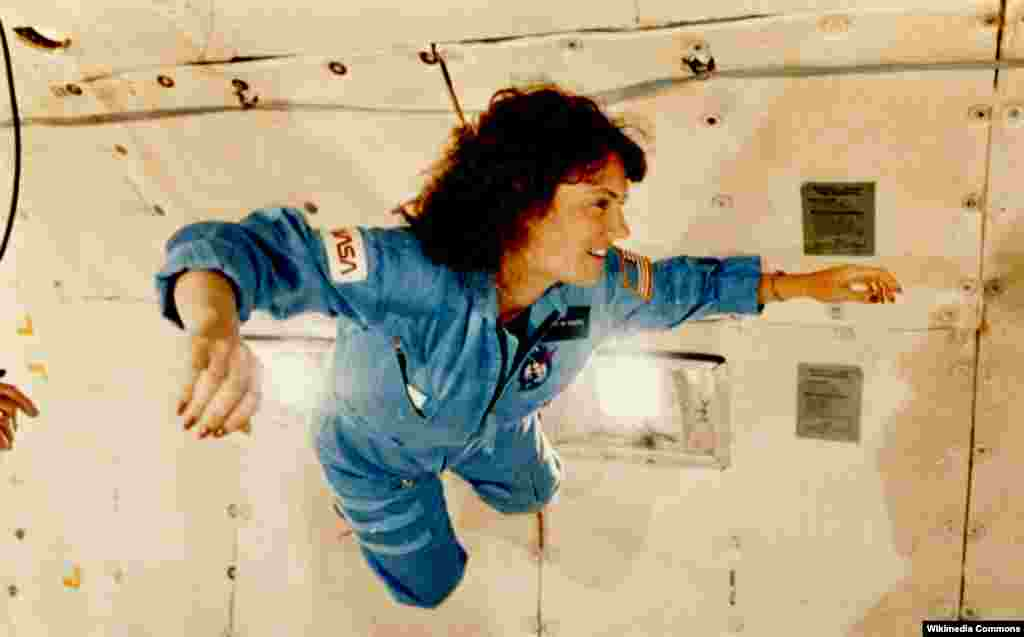 "American schoolteacher Christa McAuliffe, seen here during weightlessness training ahead of the ill-fated space shuttle ""Challenger"" mission in 1986, died in a tragedy that was televised live around the world."
