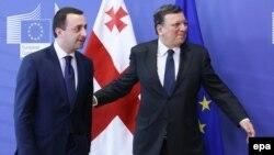 Президент Еврокомиссии Жозе Мануэль Баррозу и премьер-министр Грузии Иракли Гарибашвили