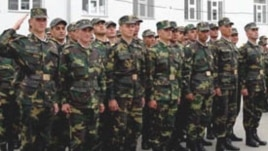 Armenia -- Soldiers lined up on a parade ground.