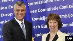 Kethrin Eshton dhe Hashim Thaçi në takimin e sotëm në Bruksel