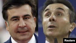 A combo photo shows President Mikheil Saakashvili (left) and opposition leader Bidzina Ivanishvili