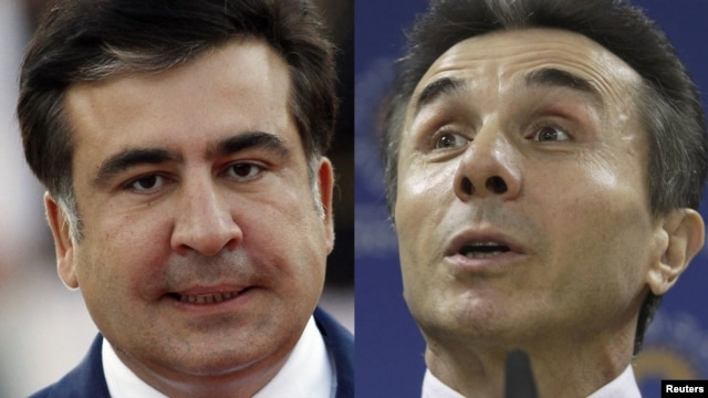 Georgian President Mikheil Saakashvili (left) will have to find a way of getting along with Bidzina Ivanishvili's Georgian Dream coalition, which has won parliamentary elections.