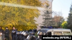 Гродно, милиция в ожидании демонстрантов, 25 октября 2020 года