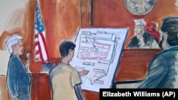 In this courtroom sketch Judge Richard Berman, second from right, and prosecuting Assistant U.S. Attorney Sidhardha Kamarju, far right, listen as Reza Zarrab, second from left, shows how his scheme worked.