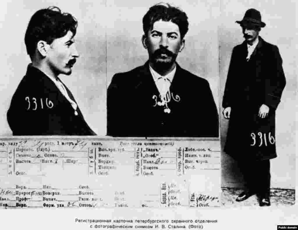 The information card on Dzhugashvili from the files of the tsarist secret police in St. Petersburg from some time between 1902 and 1910, when he was already a professional revolutionary and a member of the Bolshevik group Iskra (Spark). He began using the name Stalin in 1912.