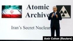 نخستوزیر اسرائیل در زمان پردهبرداری از «آرشیو هستهای ایران»