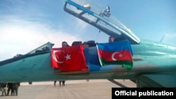 Turkey - Turkish and Azerbaijani flags displayed during joint exercises held by the air forces of the two countries near Konya, 3Ma32015.