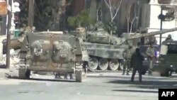 Syria -- A video grab shows army tanks in the city of Yabrud, Mar2012