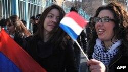Tubim para Ambasadës franceze në Erevan të Armenisë më 24 janar 2012