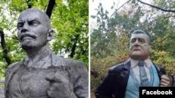 Памятник Ленину под Запорожьем до и после декоммунизации
