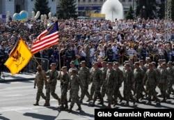Военные армии США на параде в честь Дня Независимости Украины. Киев, 24 августа 2018 года