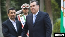 Iranian President Mahmud Ahmadinejad greets his Tajik counterpart Emomali Rahmon in Tehran last year for Norouz.