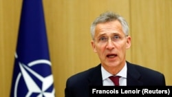 NATO Secretary-General Jens Stoltenberg speaks as he chairs a NATO defence ministers meeting via teleconference at the alliance's headquarters in Brussels on June 17.
