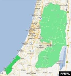 Hartă a Israelului arătând Gaza și Cisiordania.