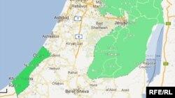 На карте Израиля в левом нижнем углу зеленым цветом обозначен сектор Газа. Справа зеленым цветом обозначен Западный Берег