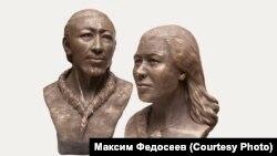 Скульптурные изображения мужчины и женщины, живших около 10 тысяч лет назад