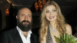 "Gulnara Karimova (right) with Halit Ergenc, star of the Turkish soap opera ""Magnificent Century,"" at the Style.uz festival in Tashkent in autumn 2012."