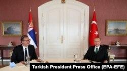 Aleksandar Vućić i Redžep Taip Erdogan na sastanku u Istanbulu, 25. septembar 2020.