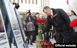 Руководство аннексированного Крыма почтило память сотрудников спецподразделения «Беркут», погибших в столкновениях с протестующими в Киеве. 18 февраля 2015 года. Архивное фото