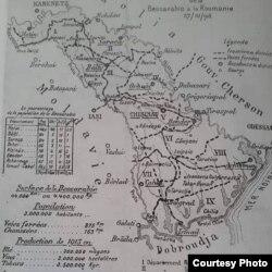 Harta Basarabiei prezentată de delegația română la Conferința de la Paris (Foto: I. Țurcanu, M. Papuc, Basarabia în actul Marii Uniri de la 1918)