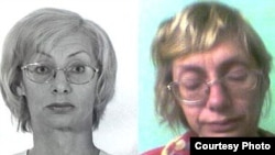 Larisa Arap before her incarceration (left) and after