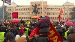 Пред Собранието на Македонија протест против уставни измени