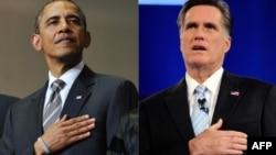 Барак Обама (сол жақта) мен Митт Ромни.