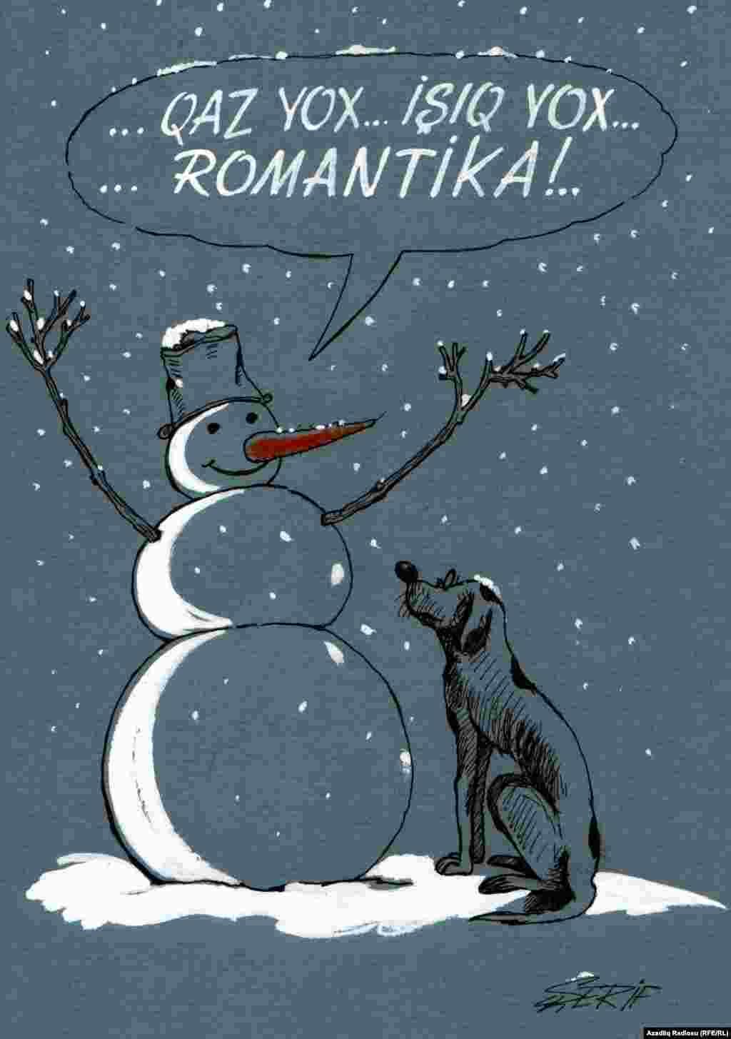 Azerbaijan -- Rashid Sherif's cartoon (snow in Baku)