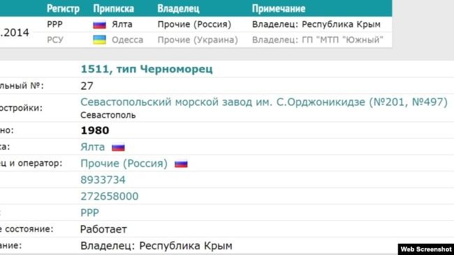Украинский плавкран «Черноморец-27» в российской базе значится под флагом России
