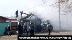 Пожар в Новокурске, Хакасия, апрель 2015 года