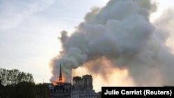 Вид на пожар в Париже