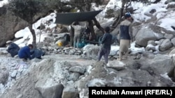 An illegal mining operation in the eastern Afghan province of Kunar.
