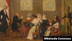 Игроки в карты. Картина маслом неизвестного художника (прибл.1850 г.)