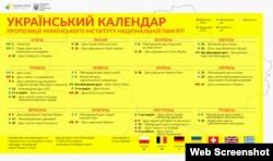 Запропонований Інститутом національної пам'яті календар свят