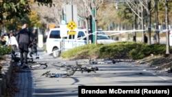 Велосипедная дорожка, по которой перед столкновением со школьным автобусом проехал пикап.